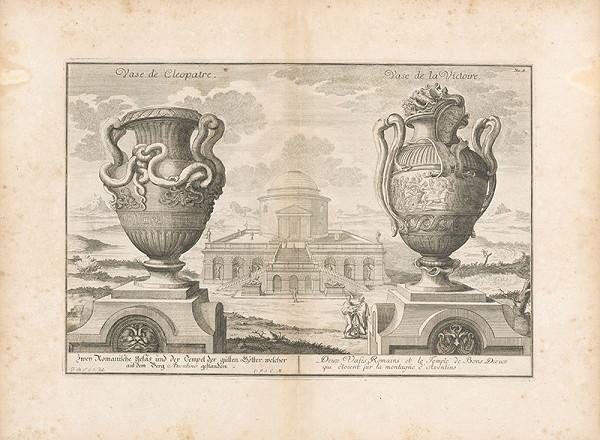 Johann Bernhard Fischer von Erlach – Pohľad na dve rímske vázy s priehľadom na chrám