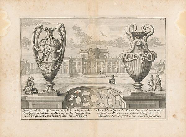 Johann Bernhard Fischer von Erlach - Pohľad na dve grécke vázy s priehľadom na palác