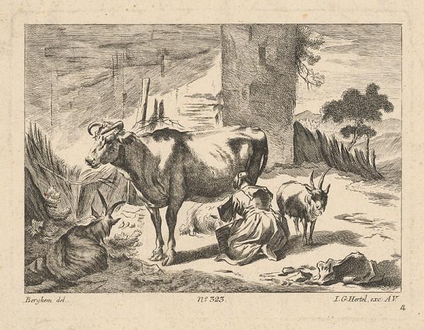 Johann Georg Hertel, Nicolaes Claes Berchem st. – Žena dojaca kravu