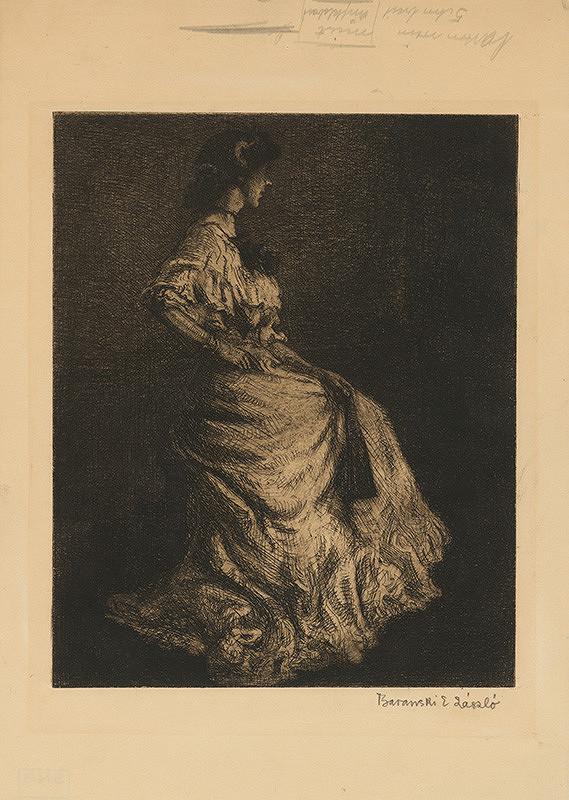 Emil László Baranszky – Sediaca žena s vejárom