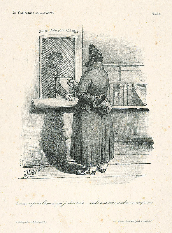 Francúzsky karikaturista J.A. z 30. rokov 19. storočia, Jacques Arago – Úpis pre pána Laffitta