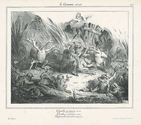Francúzsky karikaturista z 30. rokov 19. storočia – Voľba žabieho kráľa...