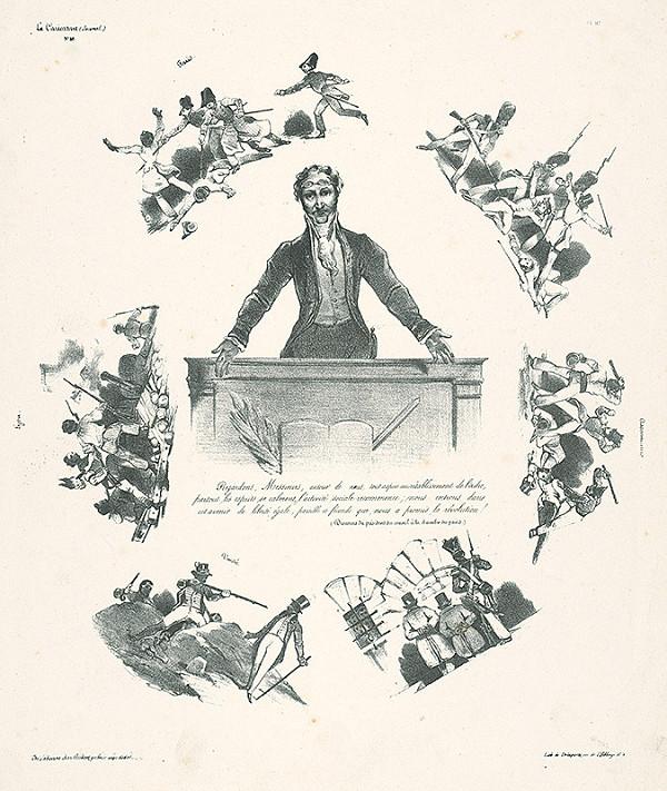 Francúzsky karikaturista z 30. rokov 19. storočia – Z prejavu predsedu vlády:Všetko túži po obnove poriadku