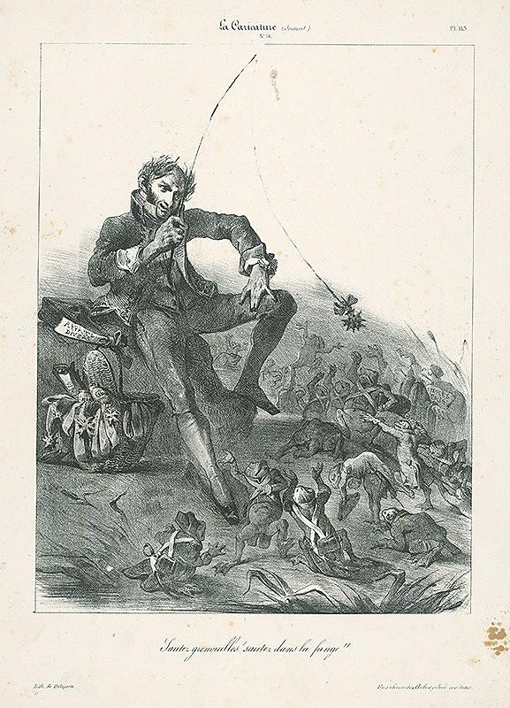 Francúzsky karikaturista z 30. rokov 19. storočia – Skáčte,žaby,skáčte do bahna!
