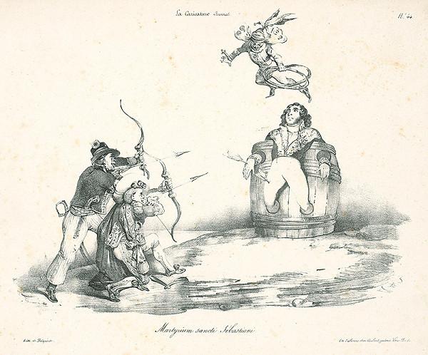 Francúzsky karikaturista z 30. rokov 19. storočia – Umučenie Svätého Sabastiana