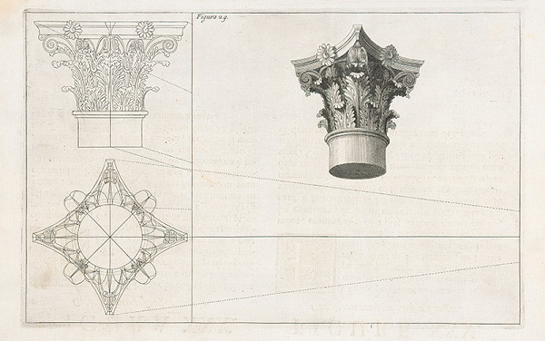 Andrea Pozzo, Giacomo Böemo Komarek – Fig.29. - Korintská hlavica stĺpu z bočného pohľadu