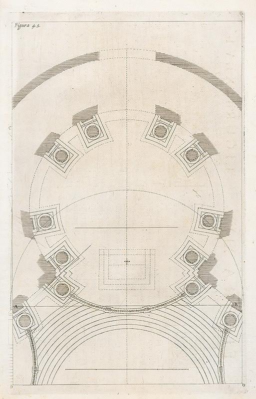 Andrea Pozzo, Giacomo Böemo Komarek - Fig.45. - Plán pre Teatro Sacro v Ríme, i s pokynmi