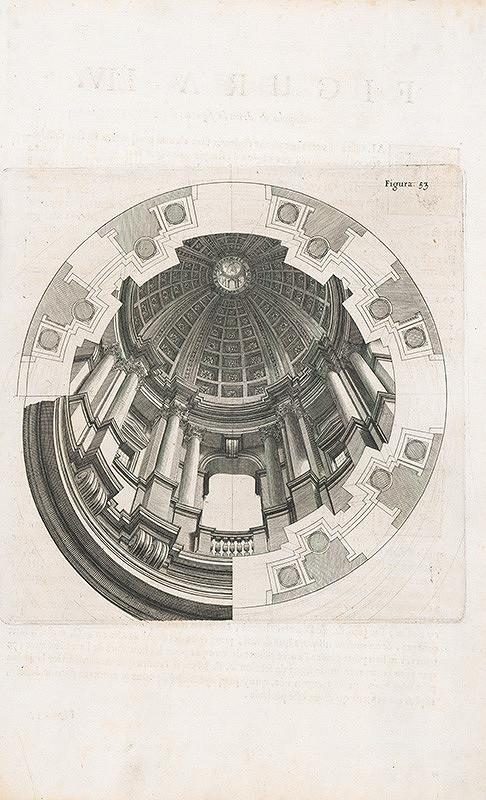 Andrea Pozzo, Giacomo Böemo Komarek – Fig.53. - Kupola budovy Collége Romain,tieňovaná
