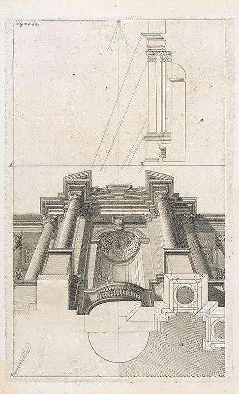 Andrea Pozzo, Giacomo Böemo Komarek – Fig.55. - Časť architektúry pri pohľade zdola