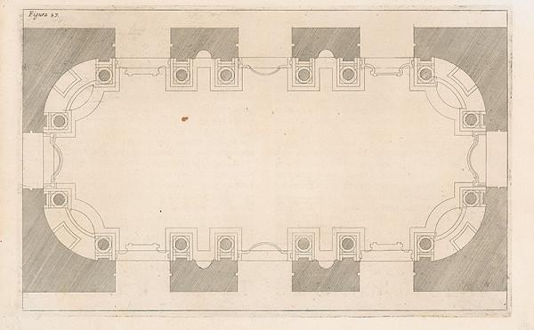 Andrea Pozzo, Giacomo Böemo Komarek – Fig.57. - Architektonický projekt pre podlhovastý strop