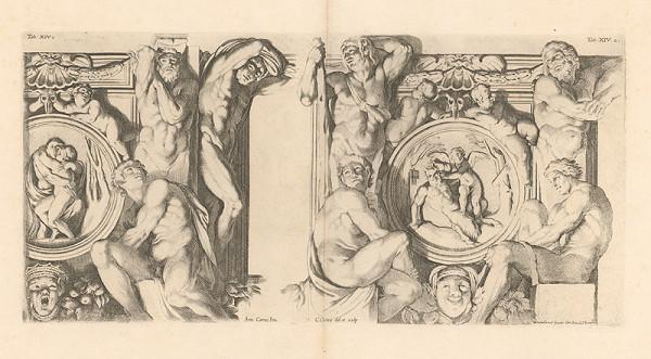 Carlo Cesio, Annibale Carracci – Atlanti a medailóny,Orfeus a Eurydika.Pan a Cupidon,Tab.XIV.1.,2.