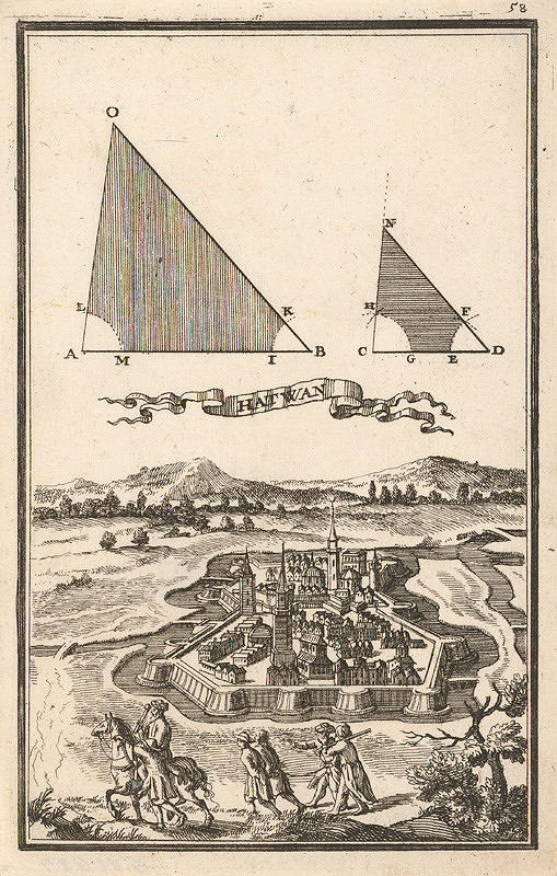 Gabriel Bodenehr st., Justus van den Nypoort – Geometrická figúra a pohľad na pevnosť Hatvan