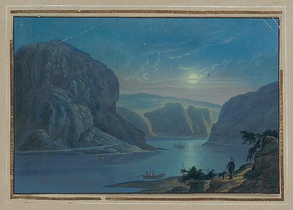 Stredoeurópsky grafik z 1. polovice 19. storočia – Romantická krajina s riekou