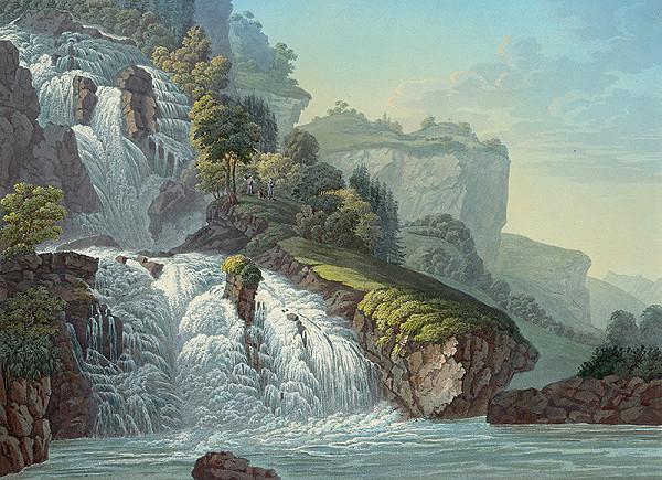 Stredoeurópsky grafik z 19. storočia - Horská krajina s vodopádom