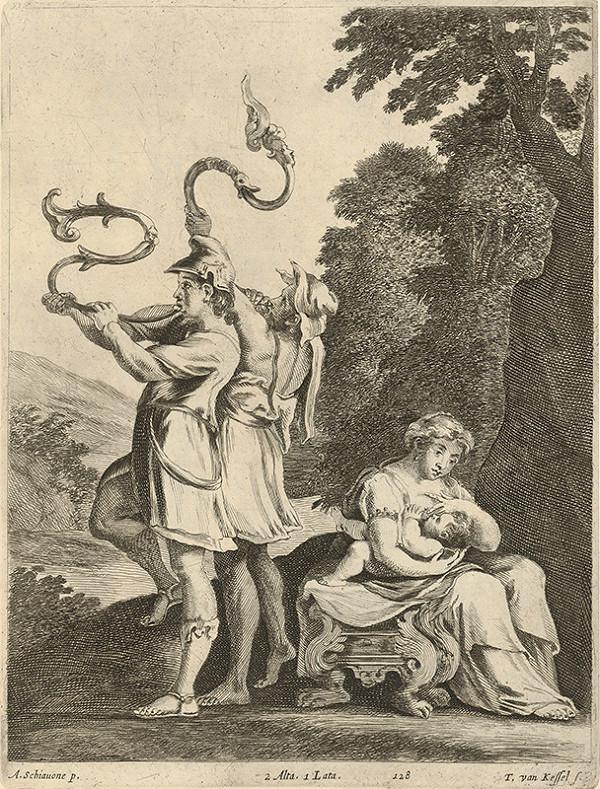 Théodorus van Kessel, Andrea Schiavone, David Teniers ml. – Mytologická scéna - oznámenie narodenia hrdinu