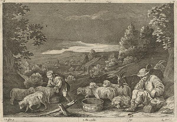Jacopo Bassano, Quirin Boel, David Teniers ml. - Pastieri oviec a kôz v krajine