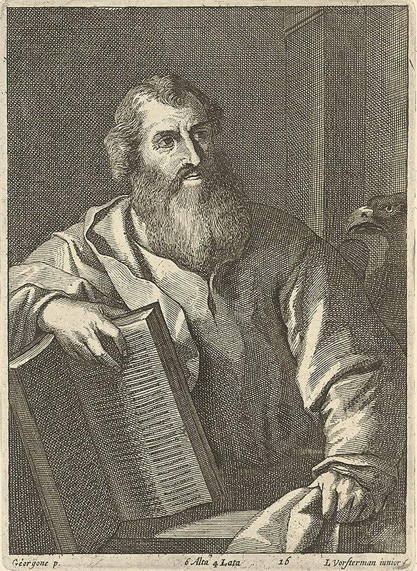 Giorgione, Lucas Vorsterman, David Teniers ml. - Evanjelista Ján