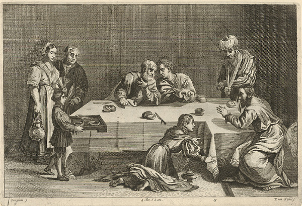 Giorgione, Théodorus van Kessel, David Teniers ml. – Hostina v dome Šimona Farizeja