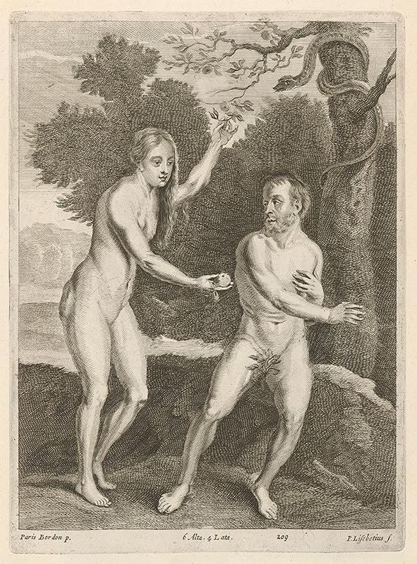 Peter Lisebetius, Paris Bordone, David Teniers ml. – Adam a Eva v raji - Eva podáva Adamovi jablko