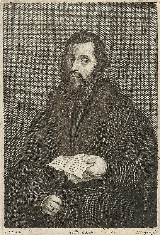Titian, Jan van Troyen, David Teniers ml. - Portrét muža s listom podľa Titiana