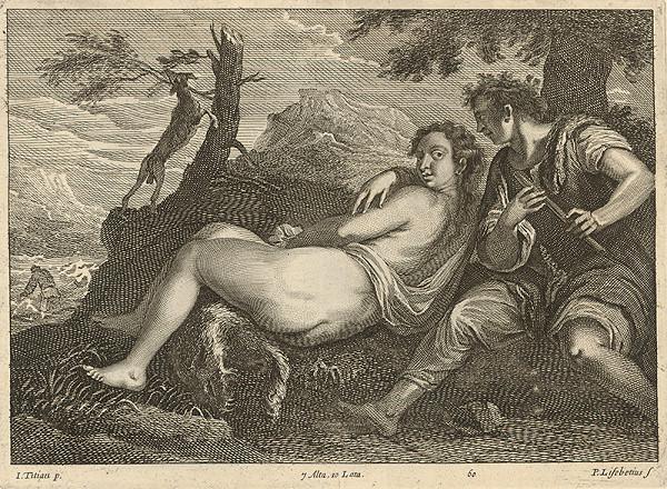 Titian, Peter Lisebetius, David Teniers ml. – Pastier a ležiaci ženský akt v krajine
