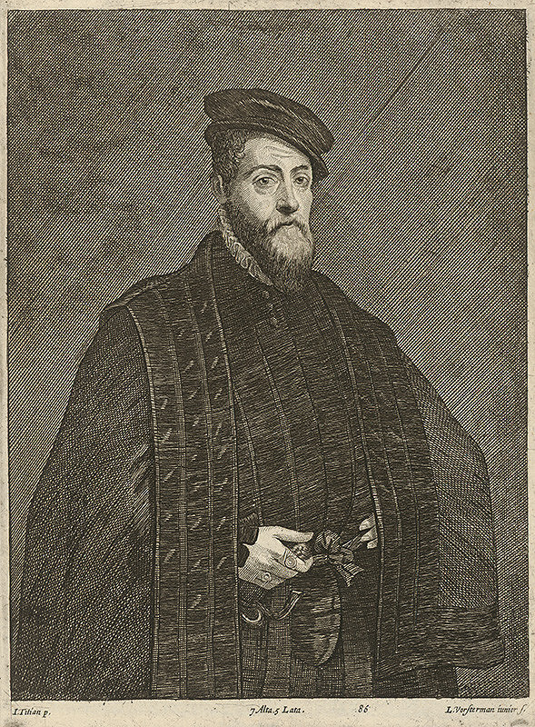 Titian, Lucas Vorsterman ml., David Teniers ml. - Portrét muža podľa Titiana