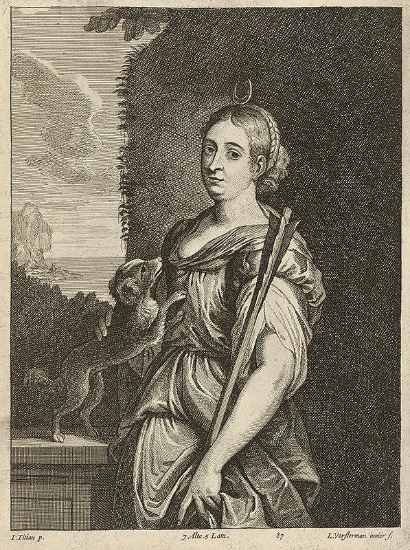 Titian, Lucas Vorsterman ml., David Teniers ml. - Diana so psíkom