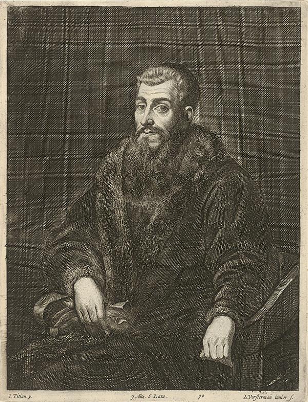 Titian, Lucas Vorsterman ml., David Teniers ml. – Portrét muža s bradou a rukavicami podľa Titiana