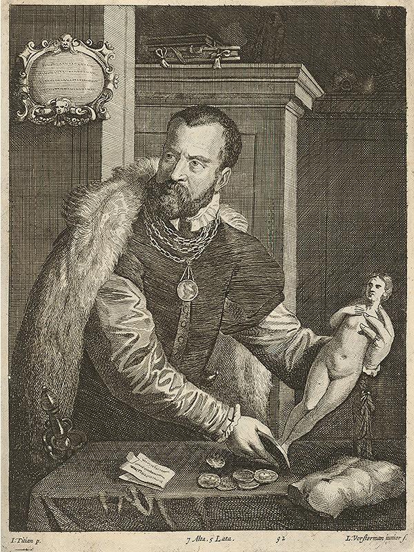 Titian, Lucas Vorsterman ml., David Teniers ml. - Portrét Jacopa de Stradu podľa Titiana