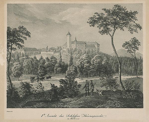 Adolf Friedrich Kunike – Pohľad na zámok Konopište -I.varianta