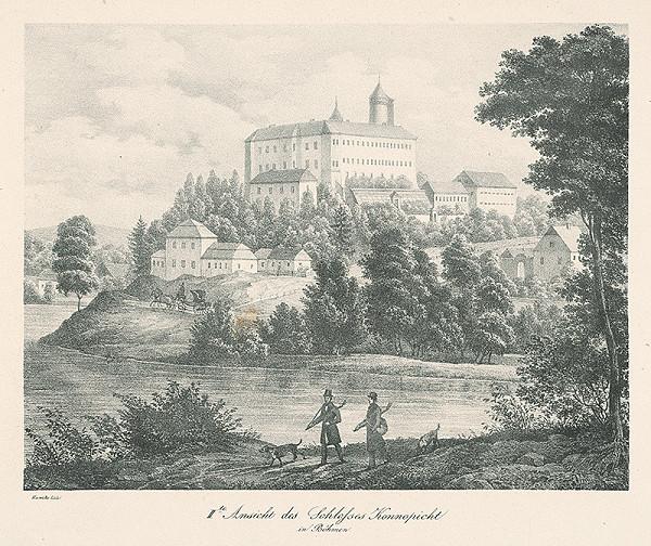 Adolf Friedrich Kunike – Pohľad na zámok Konopište -II.varianta