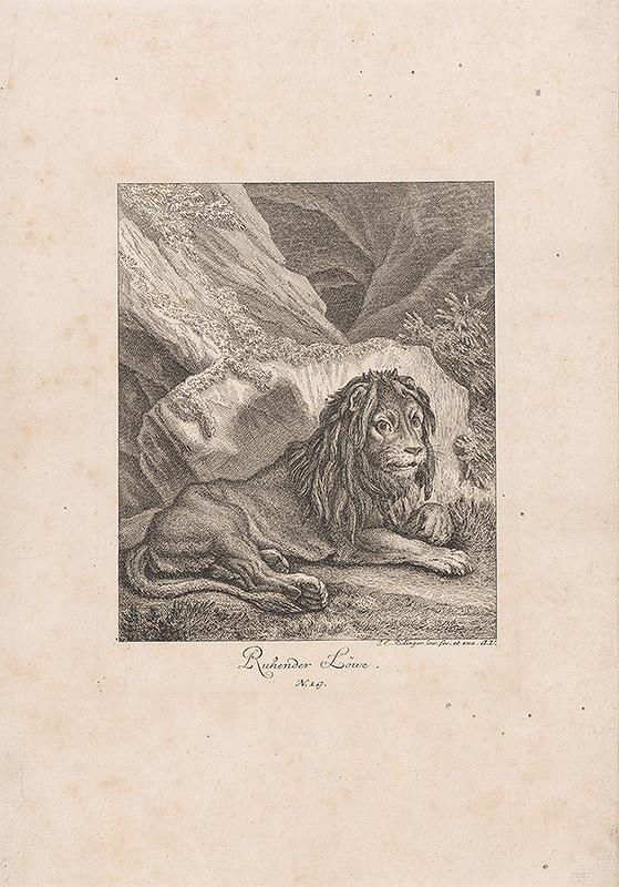 Johann Elias Ridinger - Odpočívajúci lev