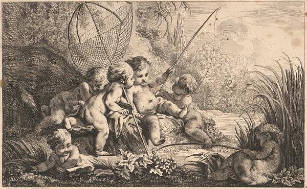 Johann Gottfried Böck – Putti chytajú ryby