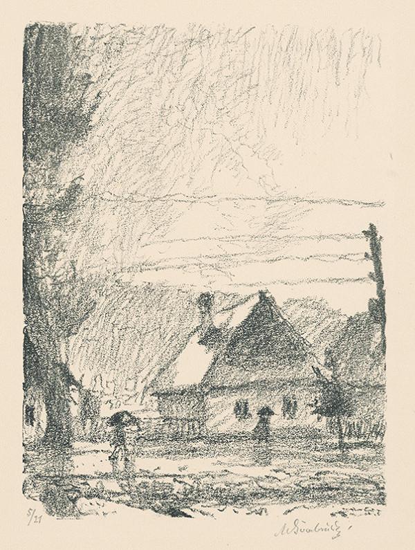 Max Švabinský - Chalupa v daždi