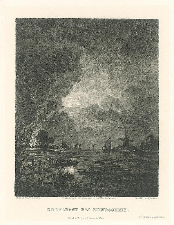 William Unger, Adriana van der Neer - Horiaca dedina pri mesačnom svite
