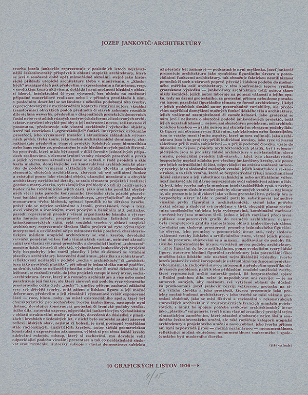 Jozef Jankovič - Úvodný list z mapy Jozef Jankovič - Architektúry s textom Jiřího Valocha