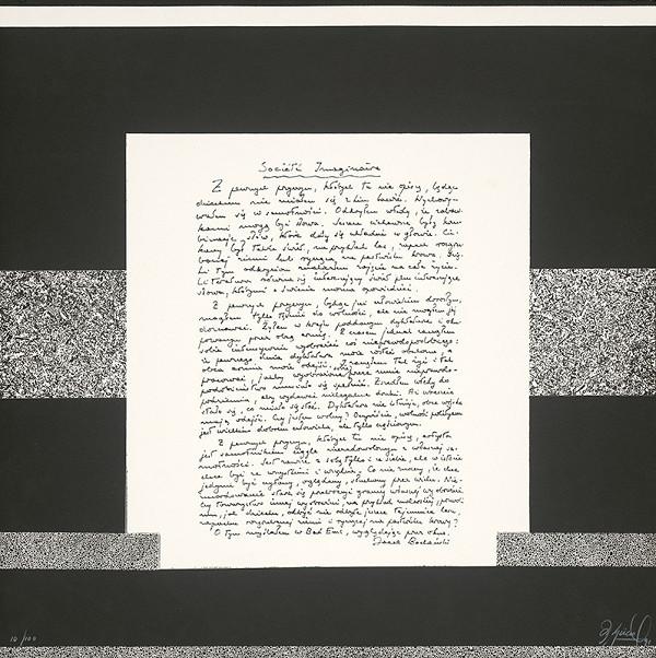Rodolfo Aguero - Dvojlist z argentínskeho portfólia Correspondence - Societé Imaginaire s textom Jaceka Bochenského, 1991