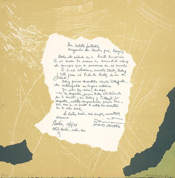 Rinaldi Alica Diaz - Dvojlist z argentínskeho portfólia Correspondence-Societé Imaginaire, text Nicolas Cocaro, 1991