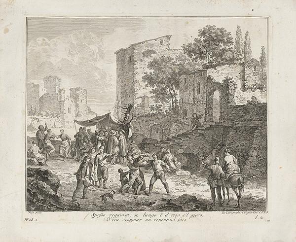 Joseph Wagner, Franz de Paula Ferg - Bojová scéna na pozadí ruín architektúry