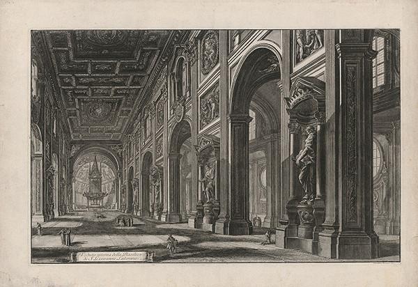 Giovanni Battista Piranesi - Pohľad do interiéru baziliky sv. Jána v Lateráne