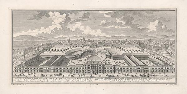 Salomon Kleiner, Johann August Corvinus – Pohľad na c.k. stajne vo Viedni