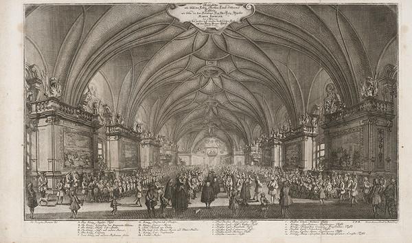 Johann Joseph Dietzler, Michael Heinrich Rentz – Kráľovská hostina konaná v deň korunovácie Márie Terézie 12. mája 1743 vo Vladislavskom sále Pražského hradu