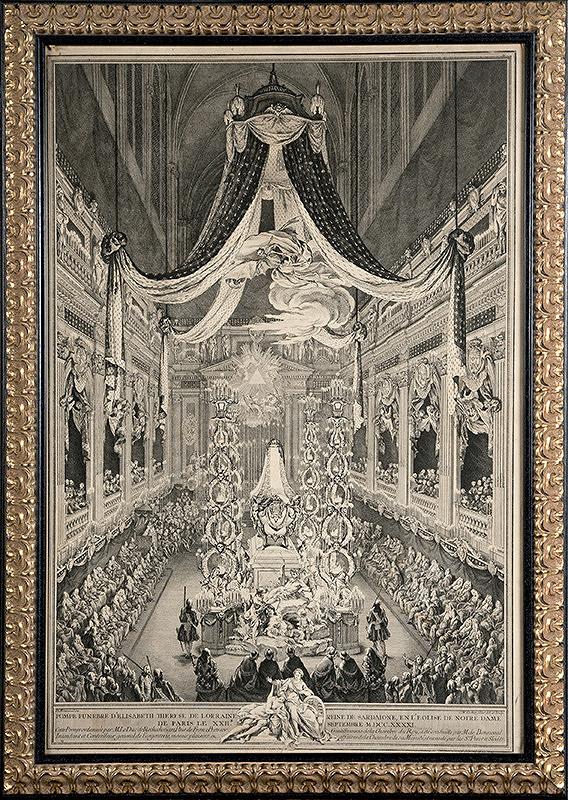 Charles-Nicolas Cochin ml. – Pohrebná slávnosť zosnulej Alžbety Terézie Lotrinskej v Kostole Notre Dame v Paríži dňa 22. septembra 1741.