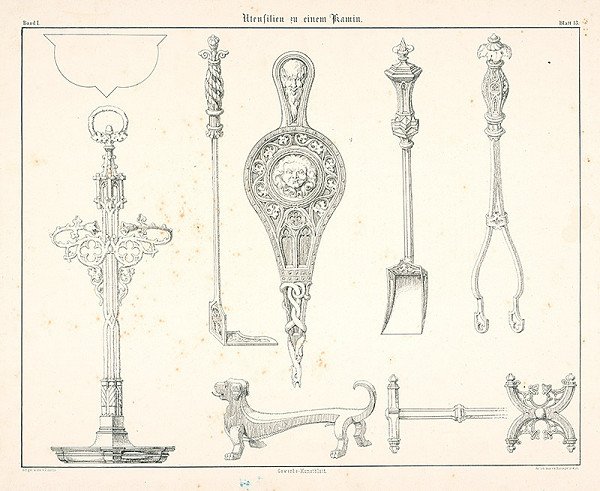 Franz Storno – Nástroje pre kozub (z cyklu Gewerbe Kunstblatt)