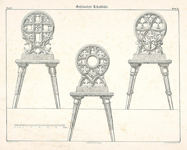 Franz Storno – Vyrezávané stoličky (z cyklu Gewerbe Kunstblatt)