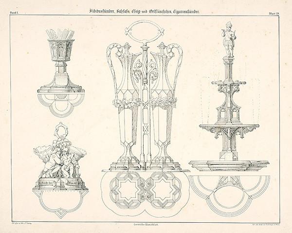 Franz Storno - Návrhy na stolové nádoby (na olej, ocot atď.)