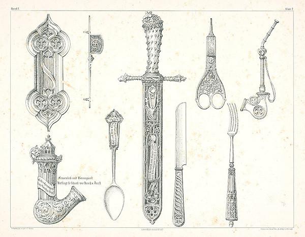 Franz Storno - Návrhy na rôzne predmety (nože, fajku, nožnice, príbor)