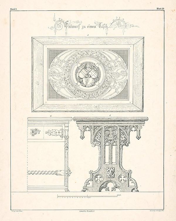 Franz Storno - Návrh na stôl (z cyklu Gewerbe Kunstblatt)