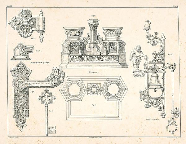 Franz Storno - Návrh na zámku, zvonček a písacie potreby (z cyklu Gewerbe Kunstblatt)