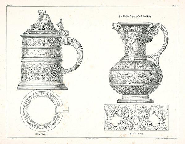 Franz Storno – Návrh na nádoby (z cyklu Gewerbe Kunstblatt)